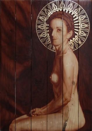 Santa Raquel 2013 71X101cm Acrílico sobre madera